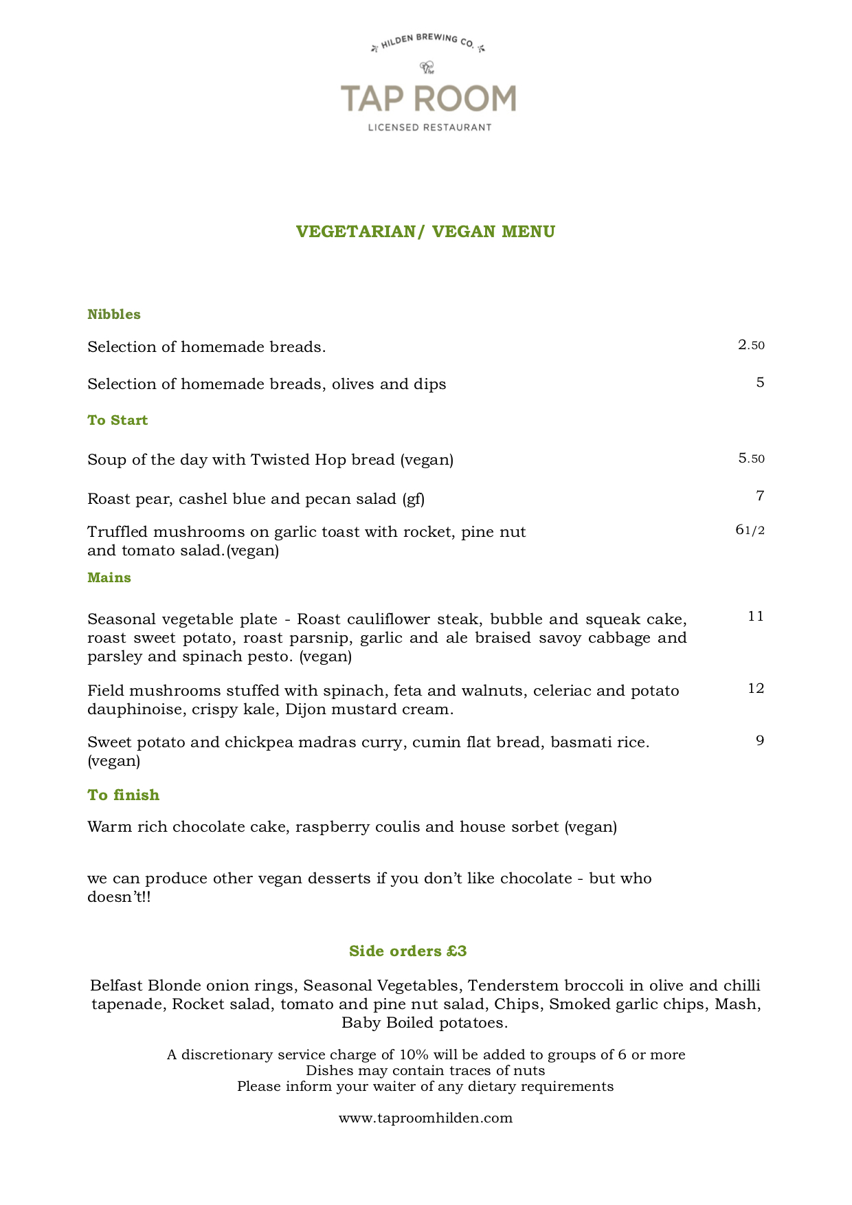 tap room vegetarian menu