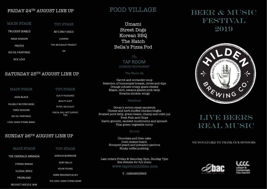 Food available at the Hilden Beer and music Festival 2019